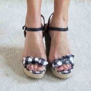 NEW MICHAEL KORS checkered espadrille wedge sandal